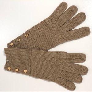Michael Kors Gold-tone Button Soft Knit Gloves